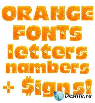 Апельсиновый шрифт (алфавит) на прозрачном фоне