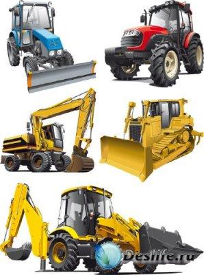 Стилизованный транспорт: Трактор, Экскаватор (прозрачный фон)