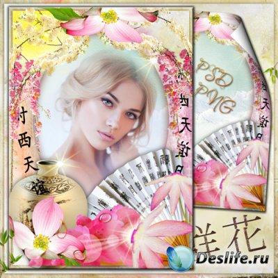 Весенняя рамка для фото - Неповторимое цветение сакуры