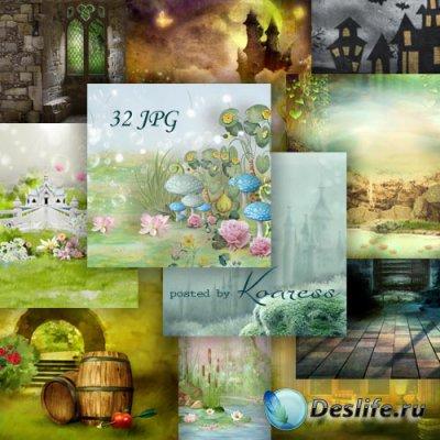 Сказочные jpg фоны для коллажей - Волшебный мир