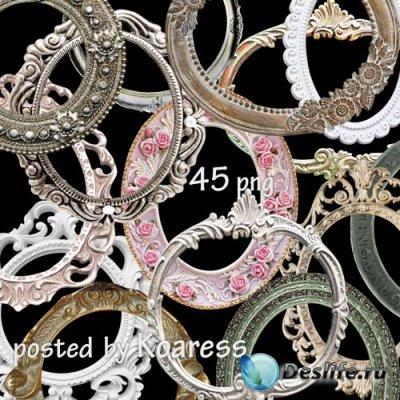 Png клипарт - Набор круглых и овальных винтажных рамок на прозрачном фоне