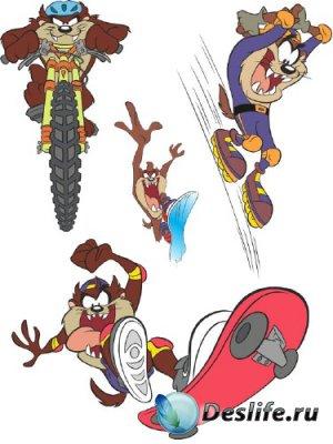 Тасманский дьявол на скейте, сноуборде, роликах и велосипеде (вектор)