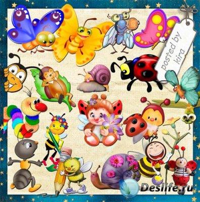 Детский клипарт - Забавные божьи коровки, бабочки, пчелки и другие насекомы ...