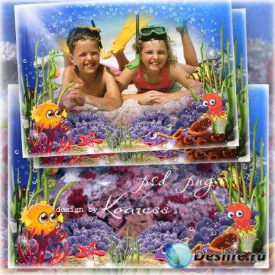 Детская морская рамка для фотошопа - Веселые каникулы на море