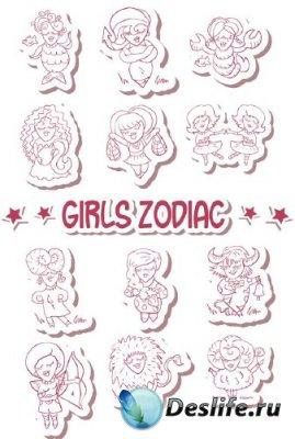 Знаки зодиака: Девушка (подборка вектора)