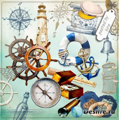 Клипарт - Якоря, штурвалы и другие морские атрибуты