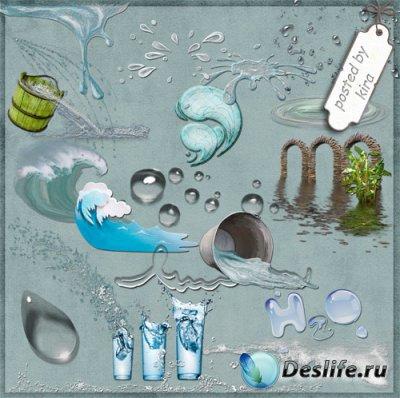 Клипарт на прозрачном фоне - Волны, вода, лужи и капли в png
