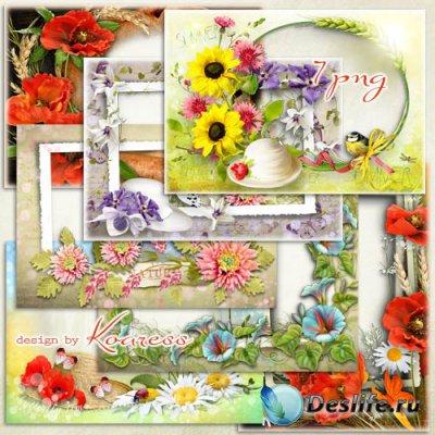 Набор романтических фоторамок - Летние цветы