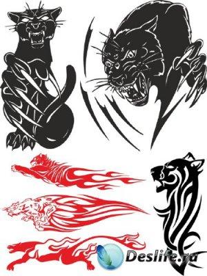 Тату: хищные кошки (пума, рысь, гепард, леопард) векторные отрисовки