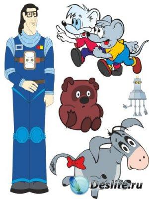 Подборка персонажей советских мультфильмов (векторные отрисовки)