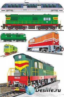 Тепловозы и поезда (векторные отрисовки)