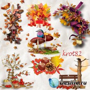 Осенние кластеры на прозрачном фоне  – Композиции с осенними листьями