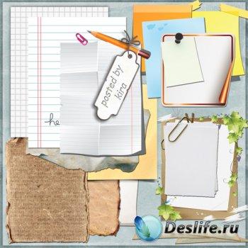 Клипарт для творчества - Бумага, стикеры и тетрадные листы