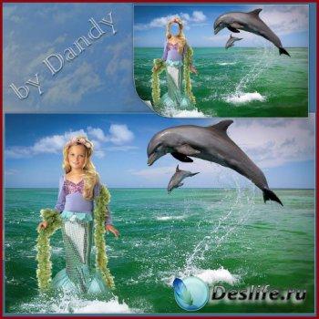 Шаблон для фотошопа - русалочка с дельфинами