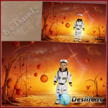 Шаблон для фотошопа - Маленький космонавт