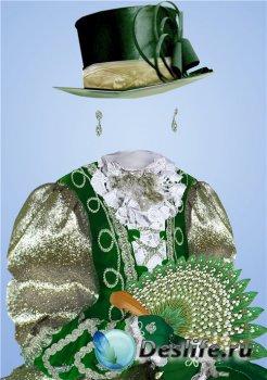 Старинный фотошоп шаблон для девочек – В зеленом наряде