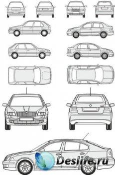 Автомобили Skoda - векторные отрисовки в масштабе