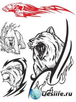 Тату: Медведь (векторные отрисовки)