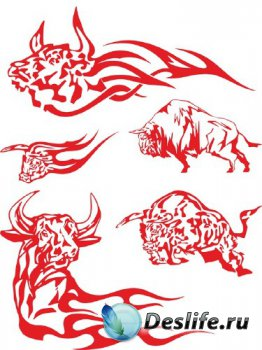 Тату: Бык, бизон, буйвол (векторные отрисовки)