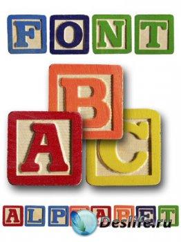 Алфавит: Детские кубики (прозрачный фон)