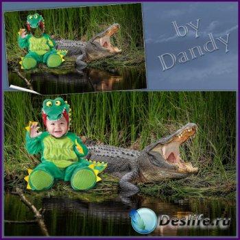 Шаблон для фотошопа - Маленький крокодильчик