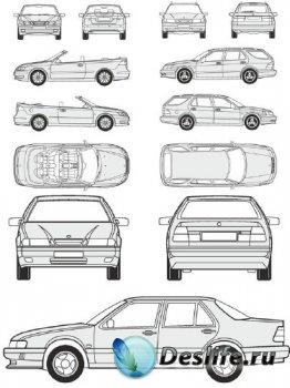 Автомобили Saab - векторные отрисовки в масштабе