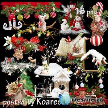Подборка детского новогоднего, рождественского клипарта - кластеры png