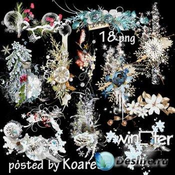 Подборка зимнего клипарта на прозрачном фоне для дизайна - кластеры в png