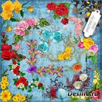 Клипарт для творчества - Цветочные уголки