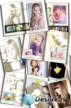 Фотокнига для фотошопа с эффектом сепии