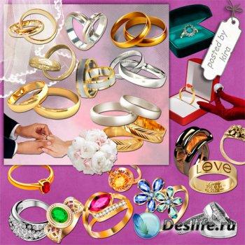 Клипарт на прозрачном фоне - Обручальные кольца и кольца с камнями