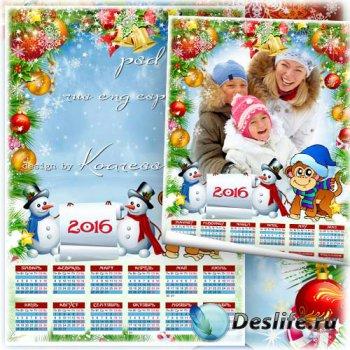 Календарь на 2016 год с вырезом для фото - Озорная Обезьянка