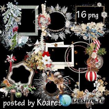 Клипарт в png на прозрачном фоне - Зимние, новогодние рамки-вырезы