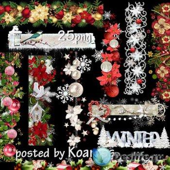 Клипарт png на прозрачном фоне для дизайна - Зимние, новогодние бордюры