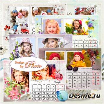 Перекидной календарь с рамками для фото на 2016 год - Разнообразие природы