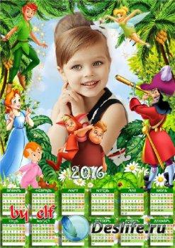 Детский календарь на 2016 год с рамкой для фото - Любимые мультфильмы