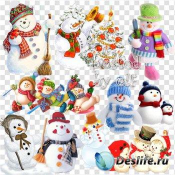 Забавные снеговики на прозрачном фоне