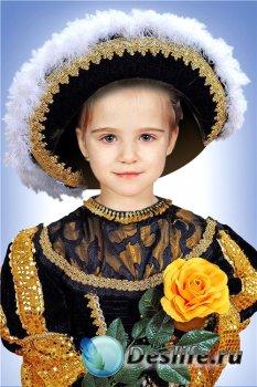 Фотошоп шаблон для девочек – Юная графиня с розой