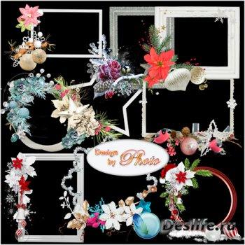 Новогодние рамки с вырезами для фото - Замечательный праздник