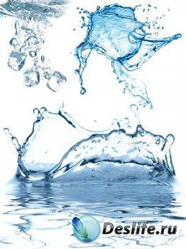 Всплеск воды, брызги воды (прозрачный фон)