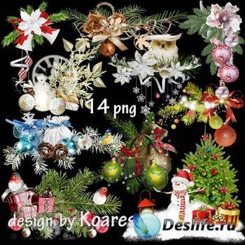 Клипарт на прозрачном фоне для фотошопа - Зимние, новогодние, рождественски ...