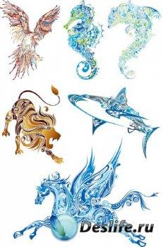 Красивые отрисовки животных в векторе