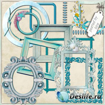 Клипарт для оформления - Голубые рамки