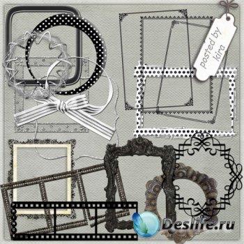 Клипарт для оформления - Черные и серые рамки