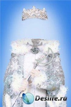 Маскарадный фотошоп шаблон для девочки – Снежная королева