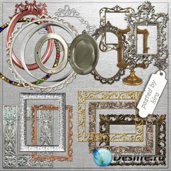 Клипарт в png - Металлические, золотые рамки для творчества
