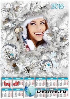 Календарь для фото на 2016 год – Снежинки вьются, кружатся