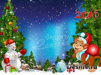 PSD исходник - Обезьянка в этот год много счастья принесет