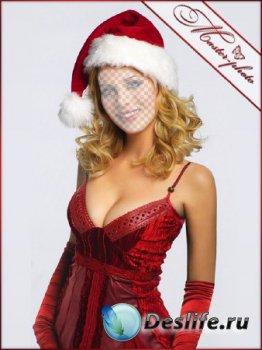 Новогодний женский костюм для photoshop - Бархатное платье