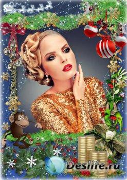 Праздничная рамка для оформления фото - Сказочная новогодняя ночь